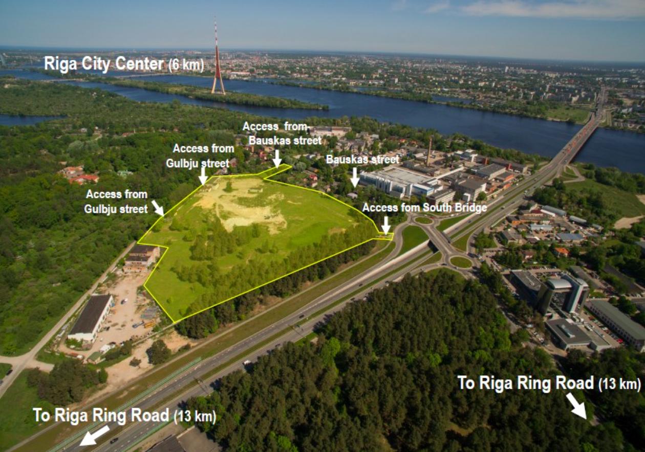 74000 m2 investīviju zeme Rīgā, Bauskas / Gulbju iela pie Dienvidu tilta