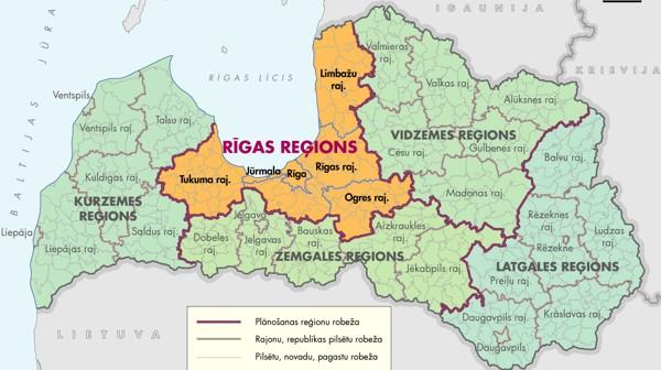 Latvijas reģionu karte uzturēšanās atļaujām